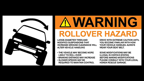 1988-1991 Civic large ROLLOVER Warning sticker