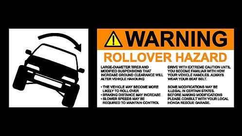1988-1991 Civic small ROLLOVER Warning Sticker