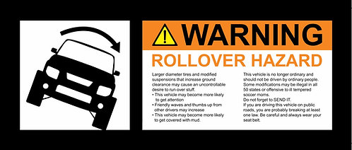 Honda Element small ROLLOVER Warning visor sticker