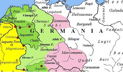 Magna Germania under Augustus. The yellow legend represents the areas controlled by the Roman Republic in 31 BC, the shades of green represent gradually conquered territories under the reign of Augustus, and pink areas on the map represent tributary tribes. Context of the Teutoburg forest battle.