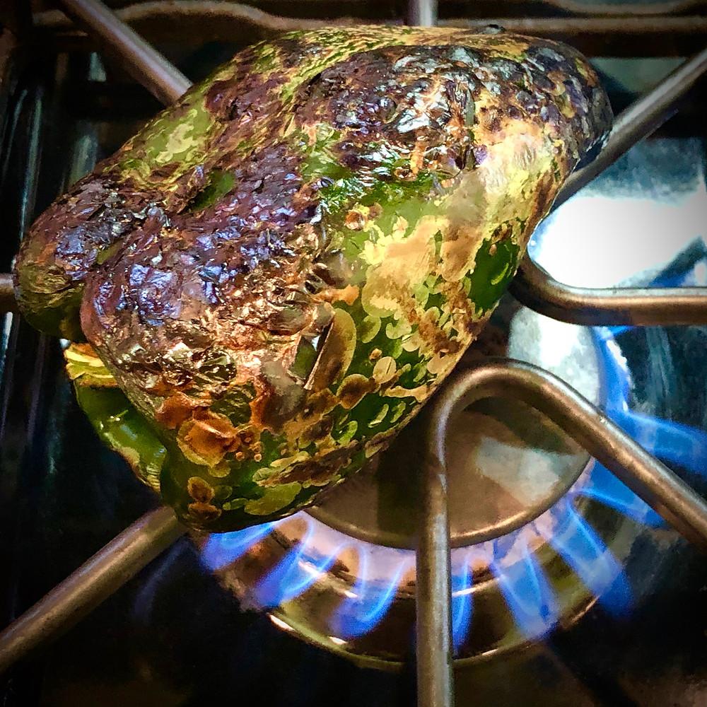 Making A Poblano Pepper For Queso Flameado