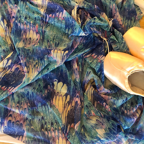 Blue Marbled Mesh Wrap Skirt
