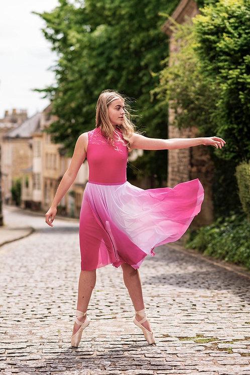 Mesh Circle Rehearsal Skirt Pink White Ombré