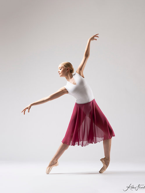 Pure Silk Cerise Rehearsal Skirt