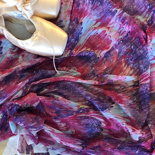 Pink Marbled Mesh Wrap Skirt