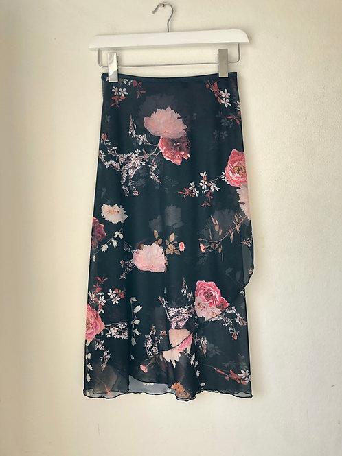Black Flora Mesh Wrap Skirt