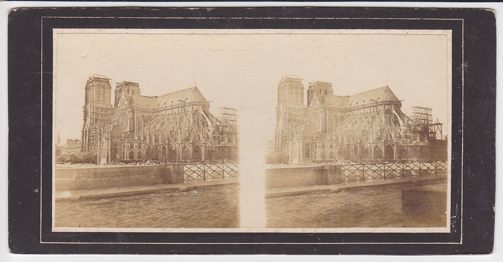 Early French stereoview of the Notre Dame, Paris. South facade & abside. c1855