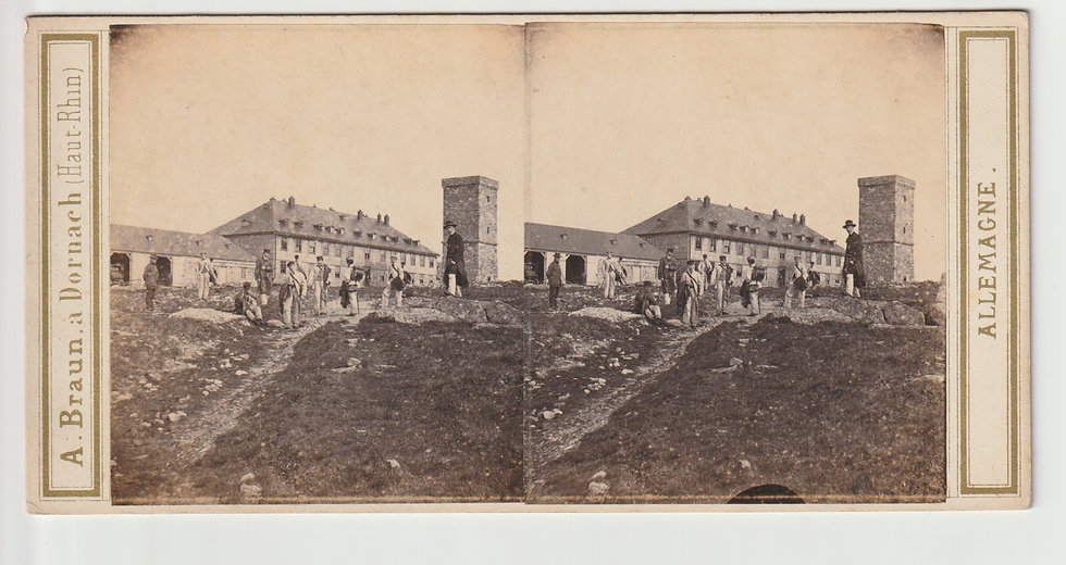 Stereoview of das Brockenhaus, Harzgebirge, Germany by Adolphe Braun. c1865/70
