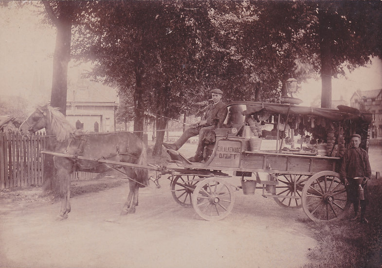 The Brushseller & his horse and wagon, Delft, the Netherlands c. 1900