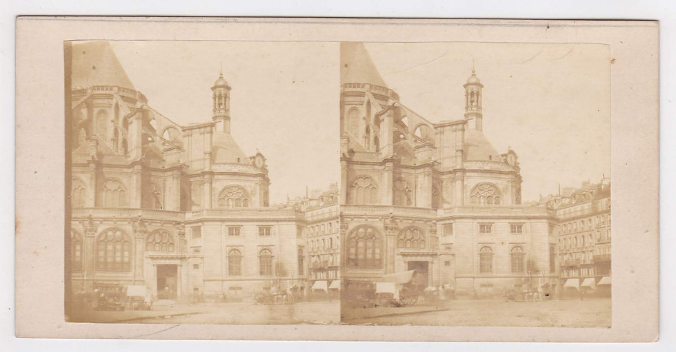 Early single lens stereoview of St Eustache, Paris, c. 1855