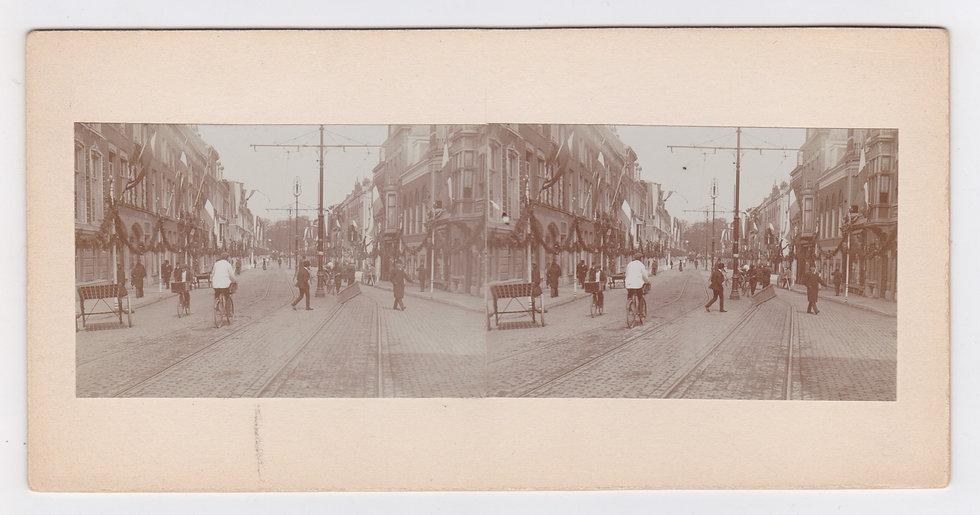 Stereoview of the Julianafeesten in 1909 in Vianen, the Netherlands