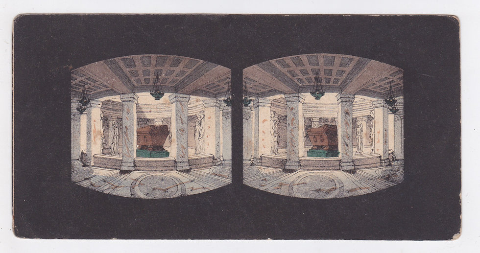 Lithographic stereoview of Napoleon's tomb in Les Invalides ca 1851-53