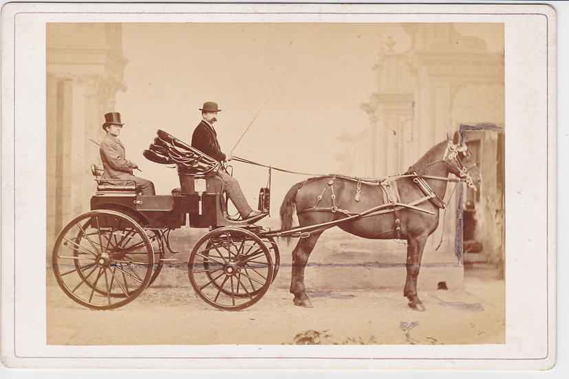 Group of three cabinet cards of horse carriages, Italy c1885