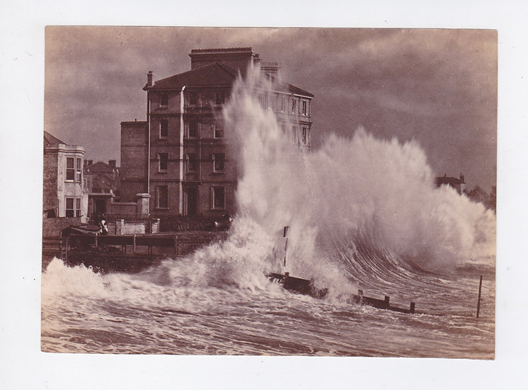 Pair of Sea Studies - Crashing waves in Bognor, Sussex - W.P. Marsh c. 1885