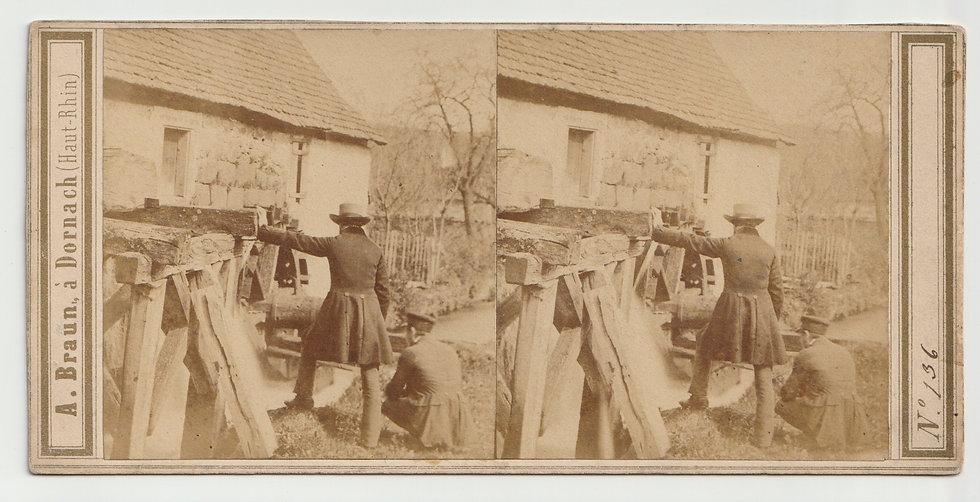 Stereoview of a watermill, Germany by Adolphe Braun 1860/65