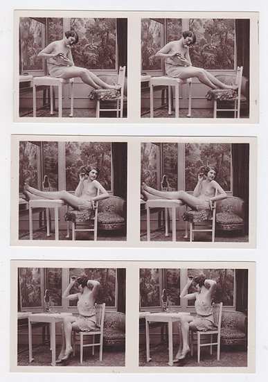 La Toilette, complete set of 6 French stereoviews of a nude girl, ca 1920