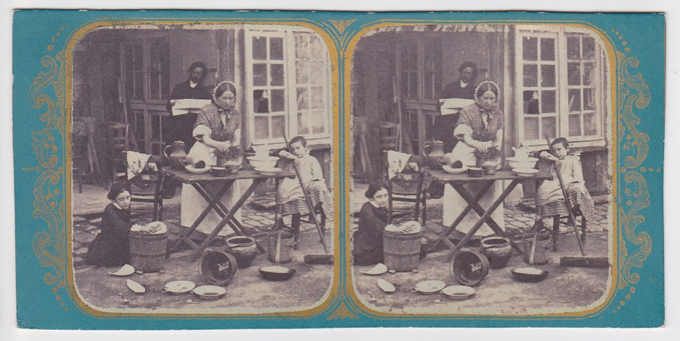 """Early French stereoview """"La Cuisiniere"""", Viret c. 1858"""