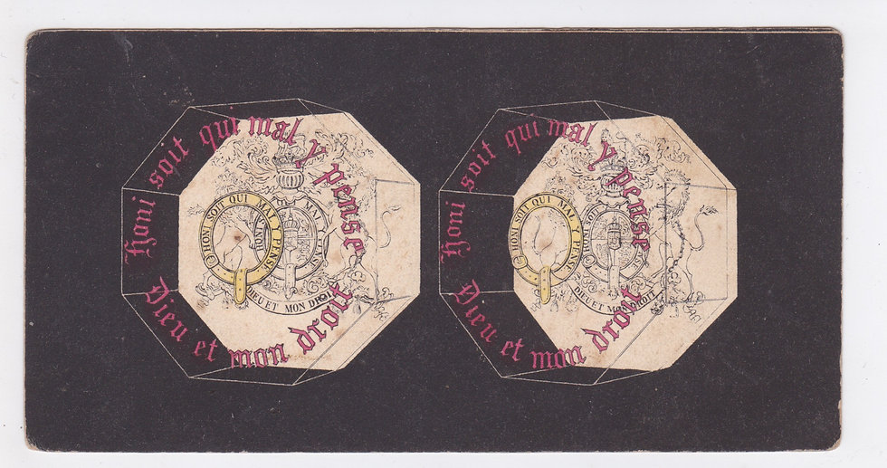 Lithographic stereoview of the royal coat of arms of the United Kingdom 1851-53