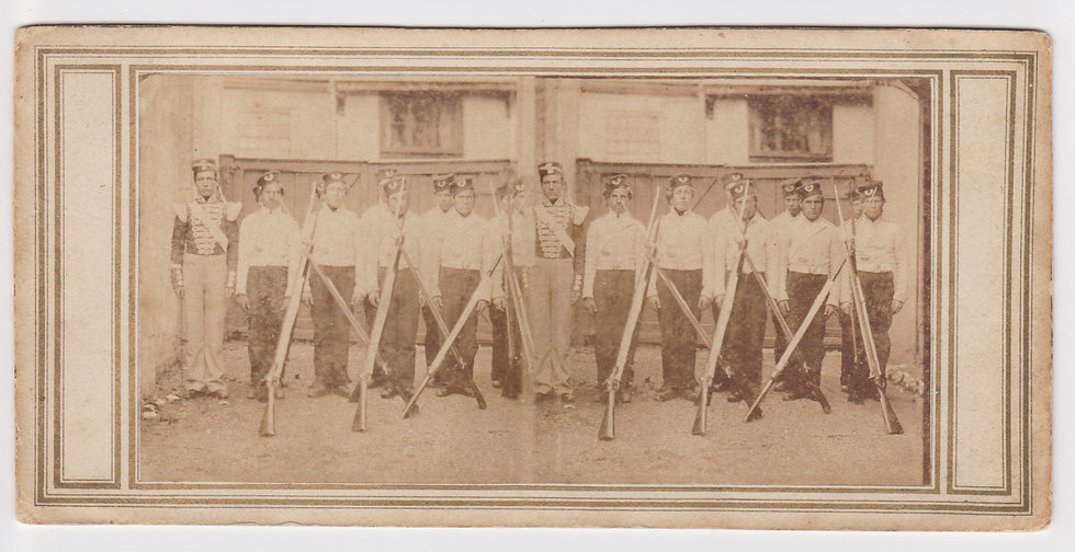 Early stereoview of a troup of a British Militia unit, c. 1860