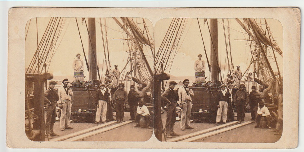 Stereo - Cotes de France Normandie - fine early maritime view c. 1858