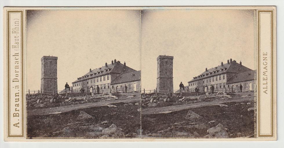 Stereoview of das Brockenhaus, Harzgebirge, Germany by Adolphe Braun.