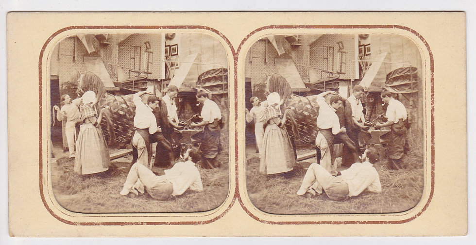 Early French tissue stereoview of a Blacksmith's workshop c. 1858