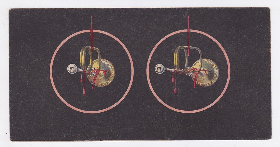 Lithographic stereoview of a trumpet ca 1851-53