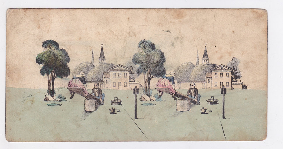 Lithographic stereoview of a children's playground ca 1851-53