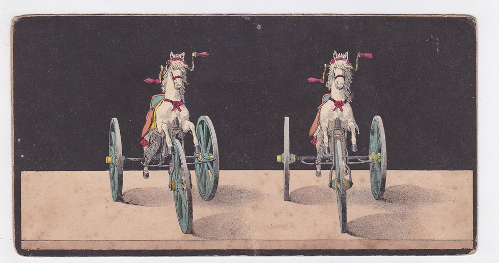 Lithographic stereoview of a children's riding horse ca 1851-53
