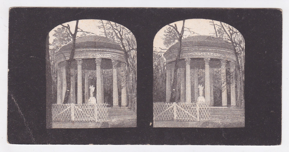 Lithographic stereoview of the temple of love in Versailles, France.