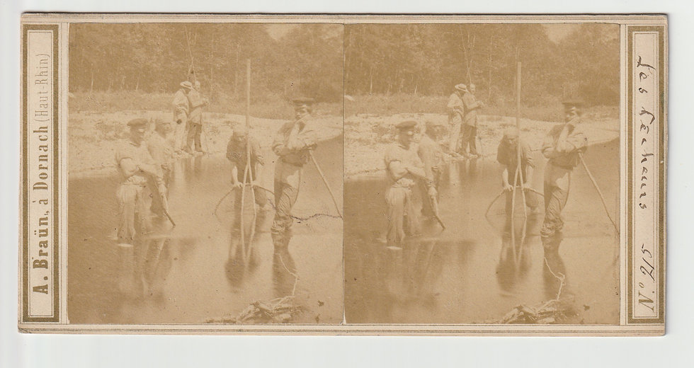 Stereoview of French fishermen by Adolphe Braun c.1865/70