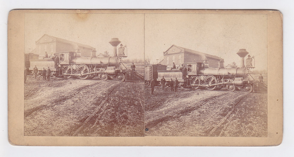 Stereoview of a Locomotive in Irondale, Missouri by Robert Benecke ca. 1875