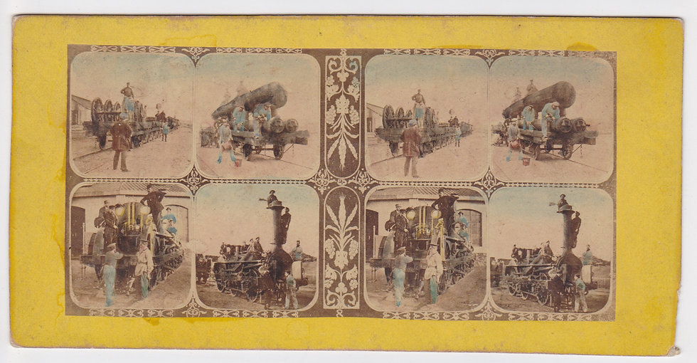 Early French tinted 'mosaic' stereoview of a stream locomotive 1860s