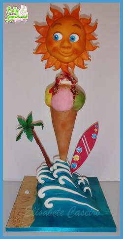 Summer tower cake