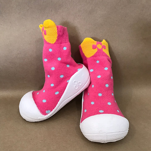L - Pink Spotty Yellow Bow