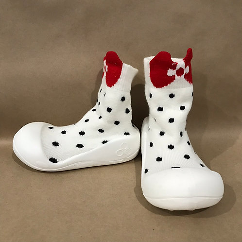 L - Spotty White, Red Bow