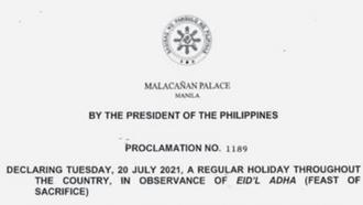 PROC. NO. 1189: Declaring July 20, 2021 a Regular Holiday