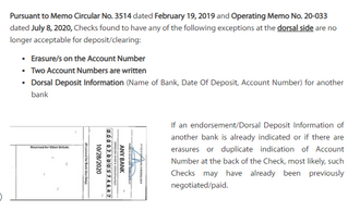 Reminder on Non-acceptance of Checks w/ Erasures, Alterations &/or Duplicate Account Nos. (Dorsal)