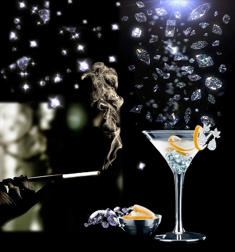 Diamonds Are For Cocktails Movie Poster Image. Sparkling diamonds falling into martini glass.