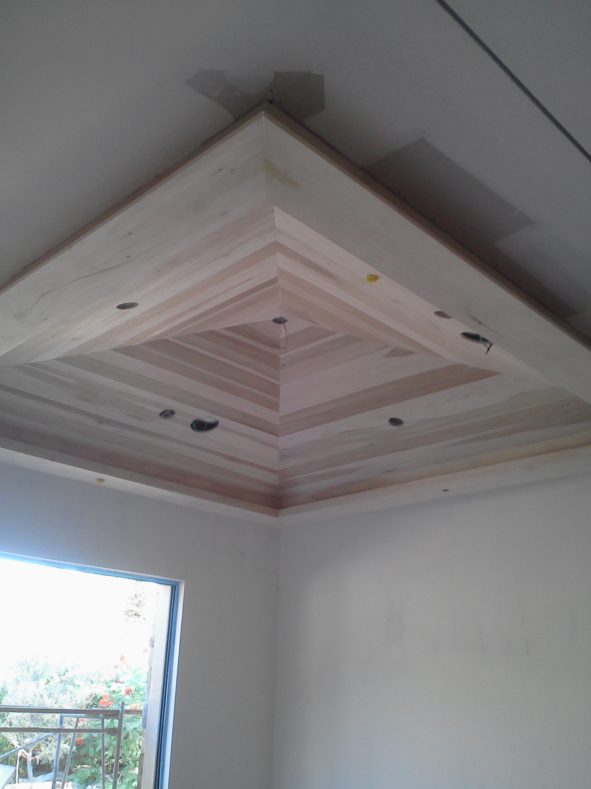 tongue and groove wood ceiling pyram