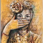 Alice Pasquini   Secret Letter II 32 x45 cm Acrylic and ink on print with frame 2013