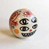Albert Pinya & Català Roig  Two faces worse than one 20cm diameter Groggy stoneware with underglaze pigments  2020