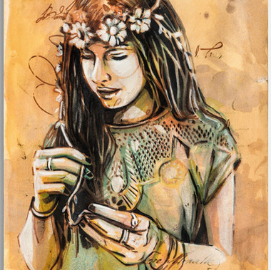 Alice Pasquini   Ester (Secret Letter) 32 x45 cm Acrylic and ink on paper  2017