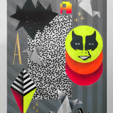 UNO  The A 50 x 70 cm Spray paint on fine art paper 300gsm 2016