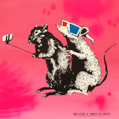 Laurina Paperina  Blek Le Rat vs Banksy Mixed media on canvas 70 x 70 cm 2018