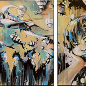 Alice Pasquini   There is a crack in everything Diptych 149 x 100 cm Acrylic on canvas 2012