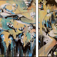 There is a crack in everything  Diptych 149 x 100 cm Acrylic on canvas 2012