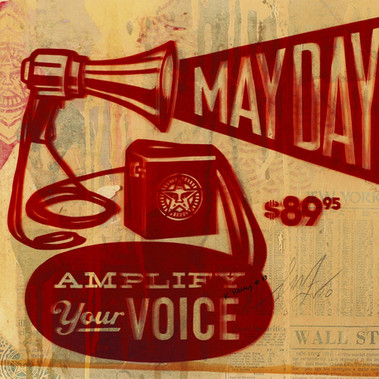 Shepard Fairey  May Day Megaphone Handcut Rubylith illustration signed in original by the artist 40,5 x 51 cm 2010