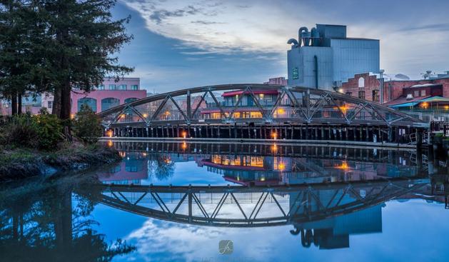 Petaluma River Bridge at night