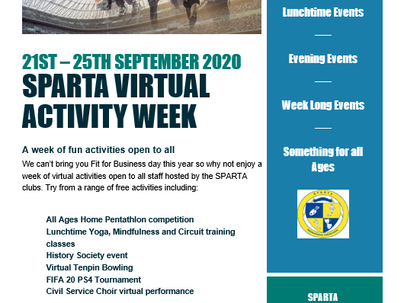 SPARTA VIRTUAL ACTIVITY WEEK ANNOUNCED